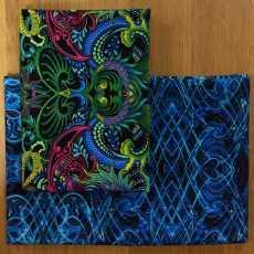 2 Fat Quarter - Dragonette blue black